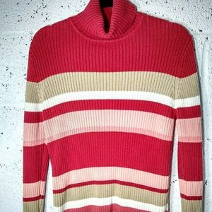 Sonoma Medium Turtleneck Pink Color Block Sweater